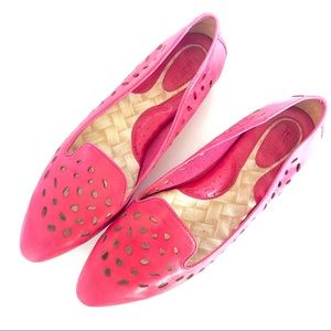 Born 8.5 Flats Pink Leather Cut Out Pointed Toe
